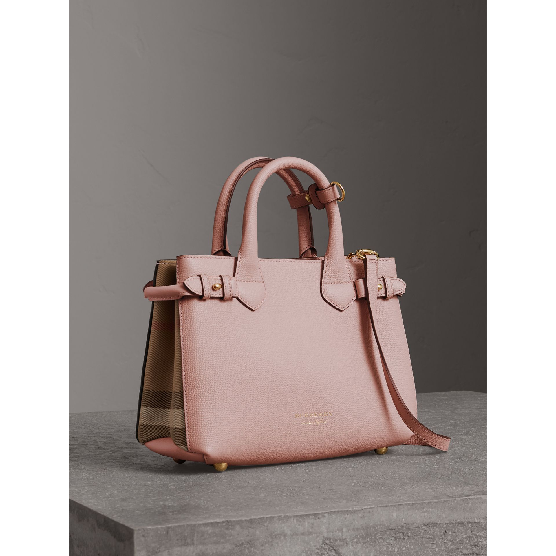 The Small Banner in Leather and House Check in Pale Orchid - Women | Burberry United Kingdom - gallery image 0