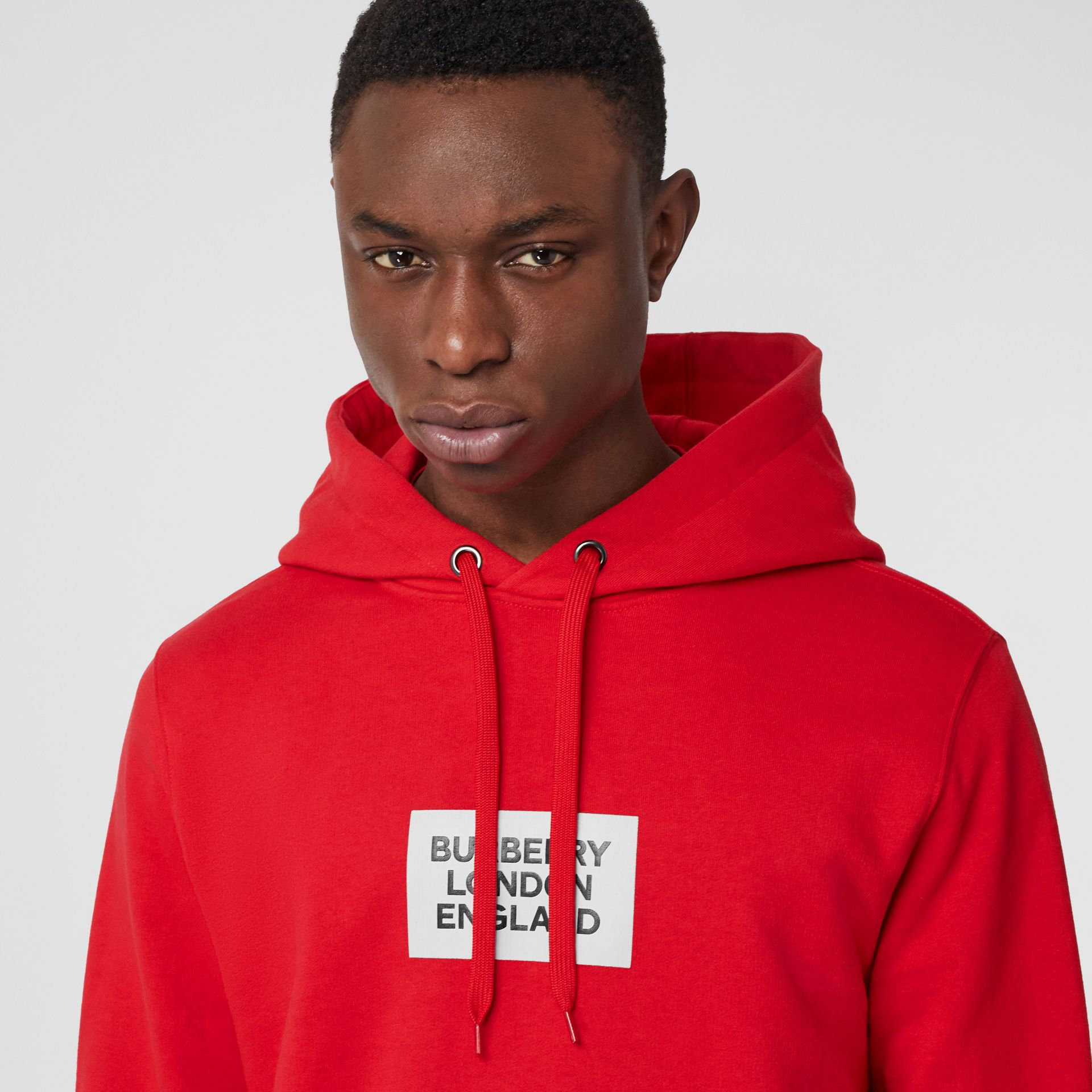 Logo Print Cotton Hoodie in Bright Red - Men | Burberry - gallery image 1