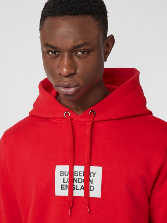 Logo Print Cotton Hoodie in Bright Red - Men | Burberry - cell image 1