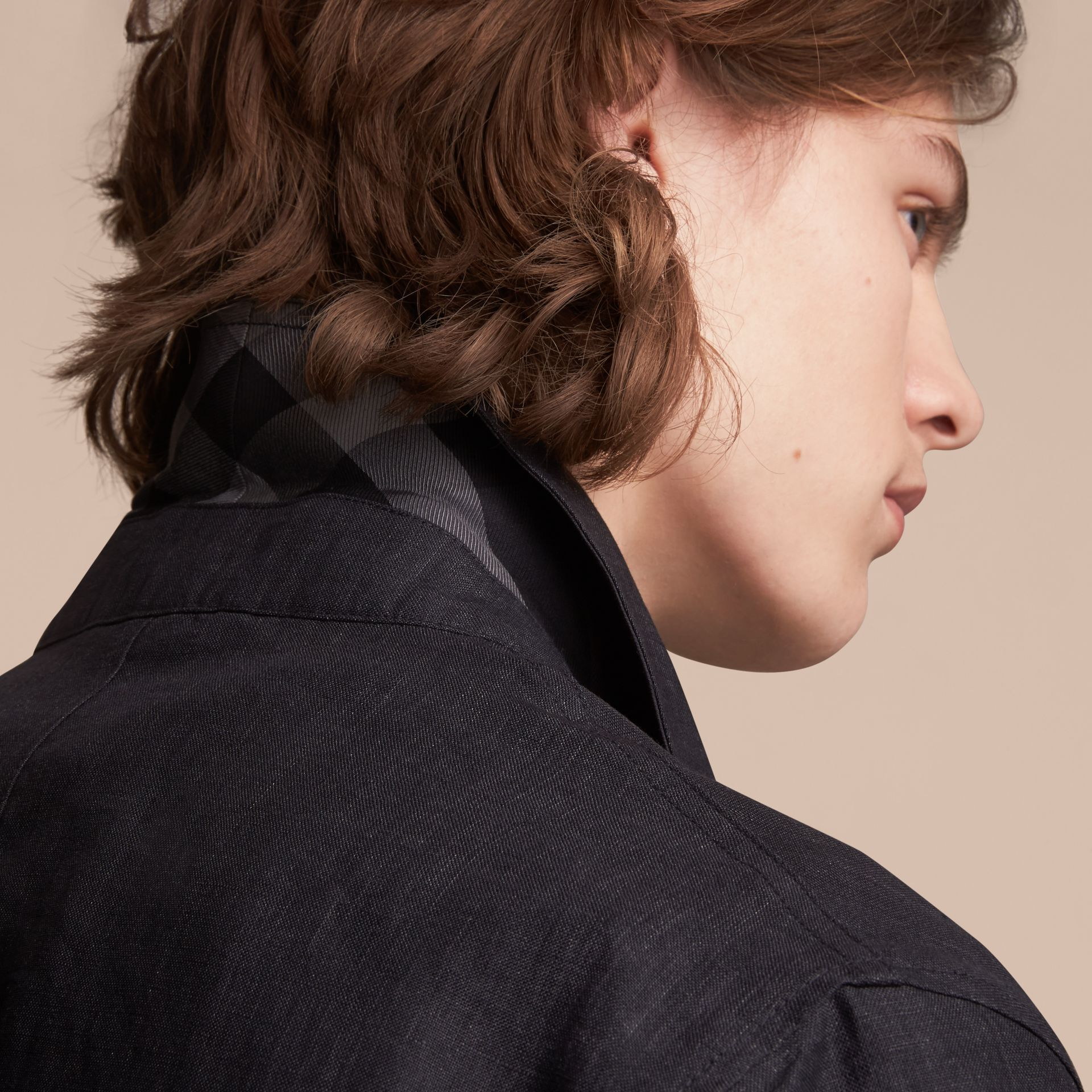 Linen Double-breasted Artist Jacket - Men | Burberry - gallery image 6