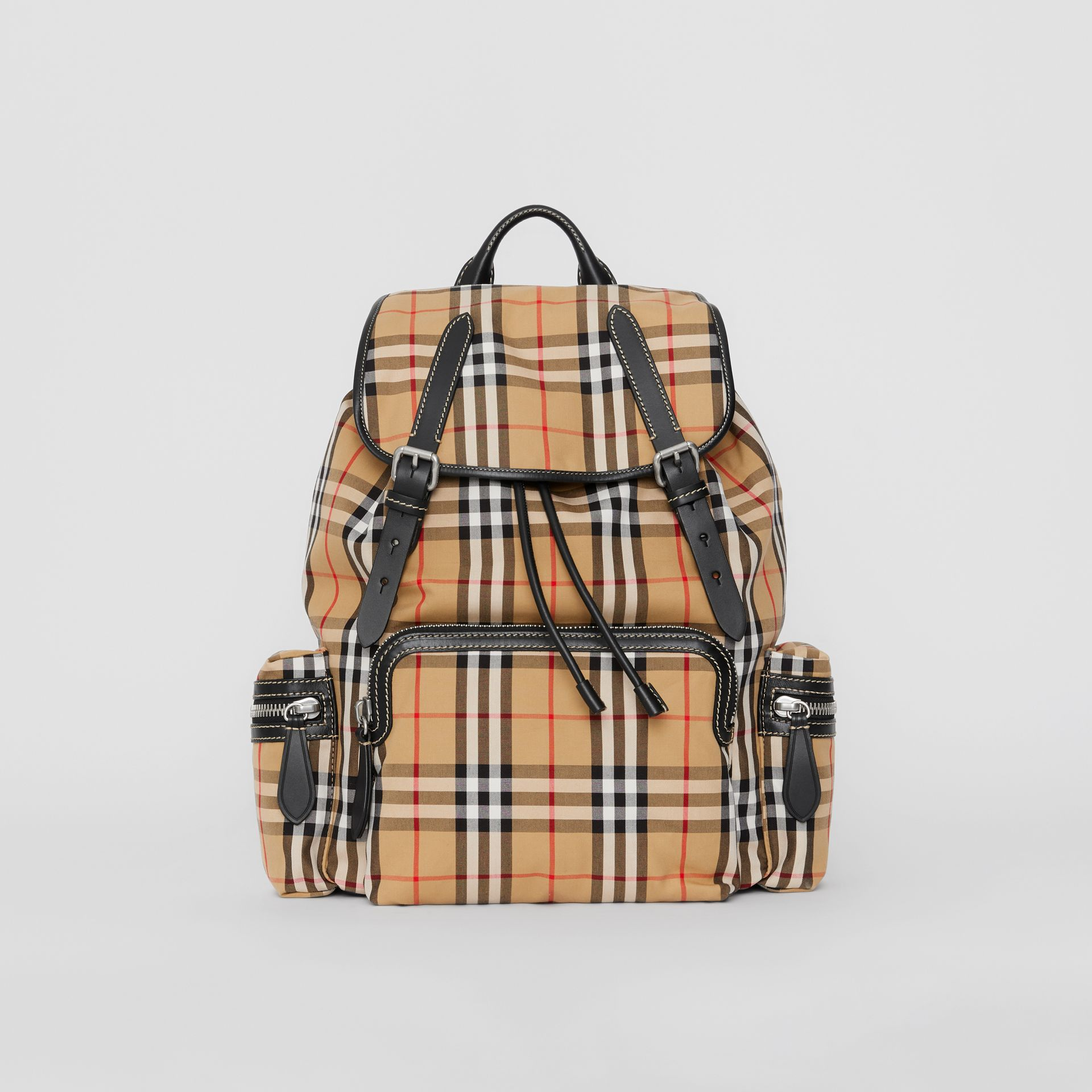 The Large Rucksack in Vintage Check in Antique Yellow | Burberry Hong Kong - gallery image 0