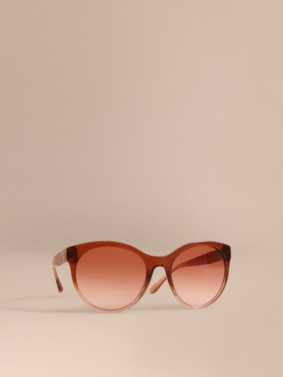 Check Detail Round Frame Sunglasses Rose