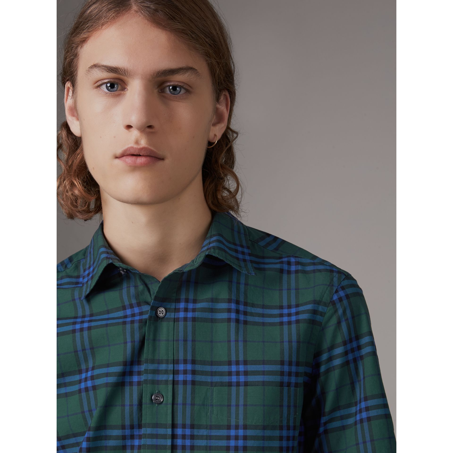 Short-sleeve Check Cotton Shirt in Forest Green - Men | Burberry Singapore - gallery image 1
