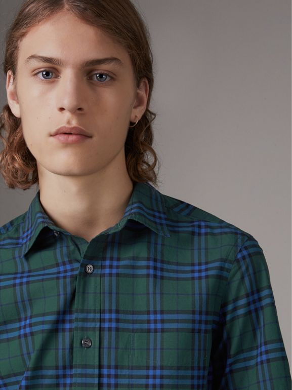 Short-sleeve Check Cotton Shirt in Forest Green - Men | Burberry - cell image 1