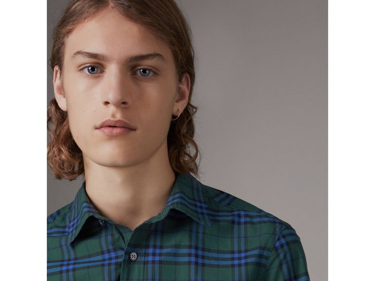 Short-sleeve Check Cotton Shirt in Forest Green - Men | Burberry United Kingdom - cell image 1