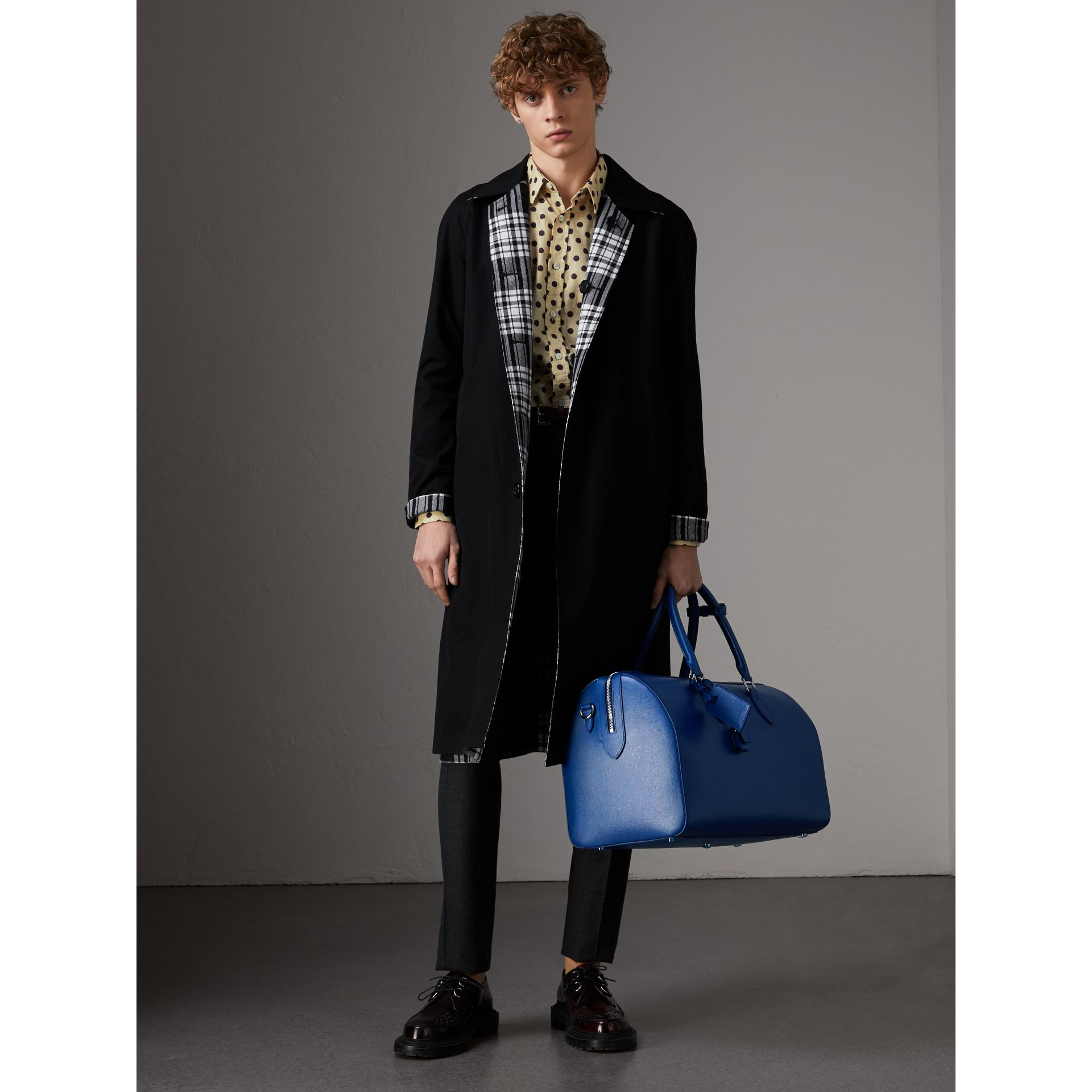 London Leather Holdall in Deep Blue - Men | Burberry - gallery image 3