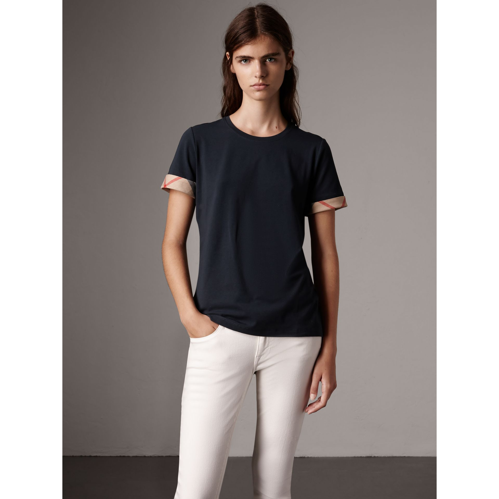 Check Cuff Stretch Cotton T-Shirt in Navy - Women | Burberry - gallery image 1