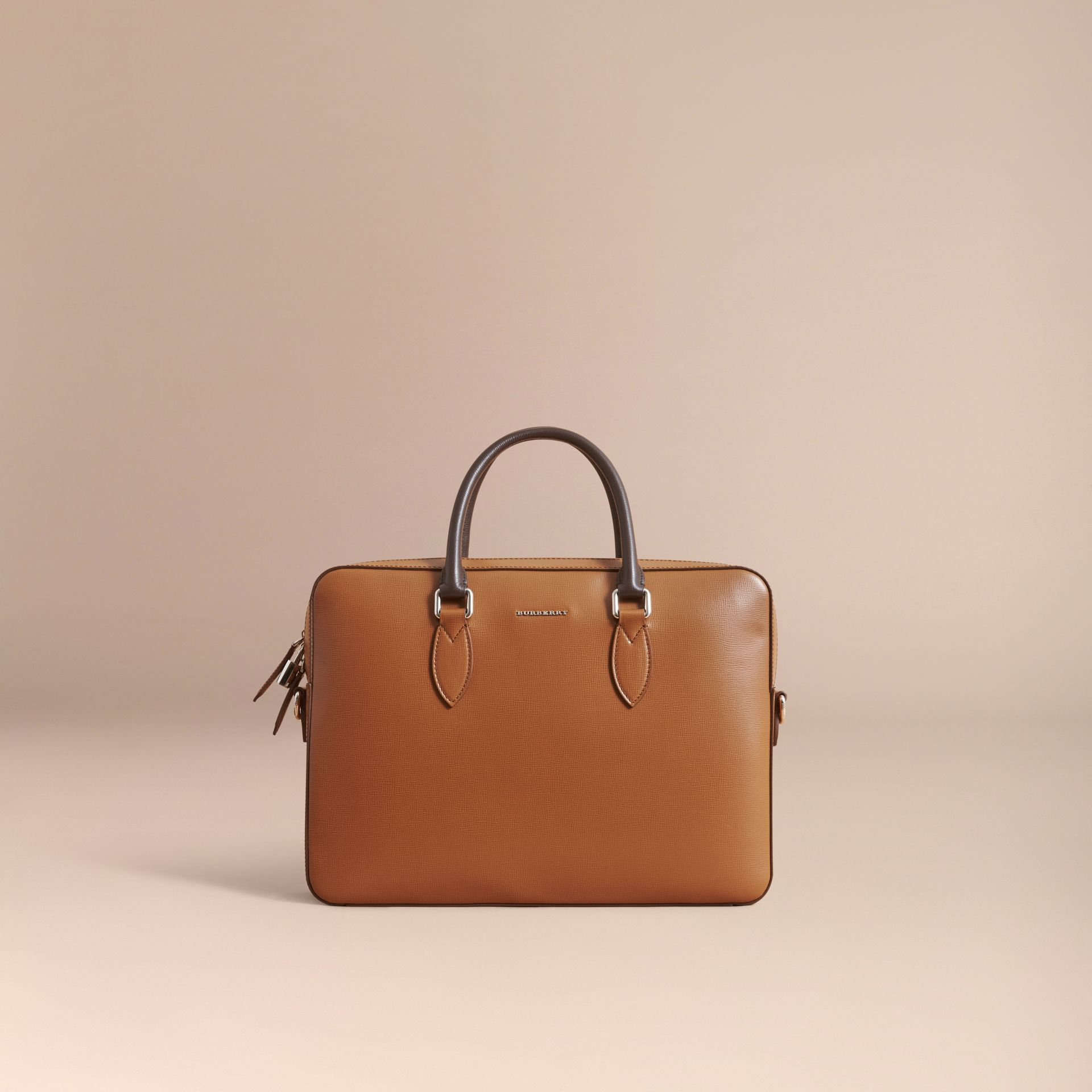 London Leather Briefcase in Tan/chocolate - Men | Burberry - gallery image 8