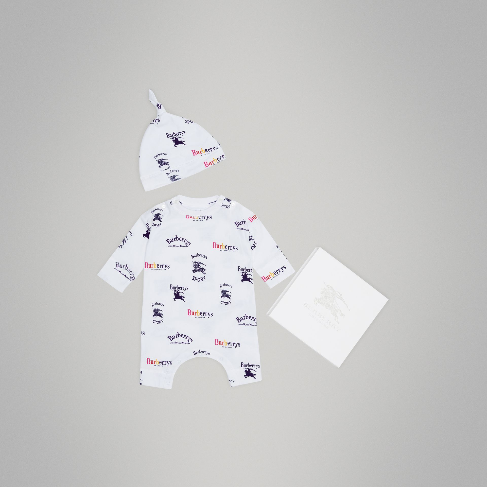 Archive Logo Two-piece Baby Gift Set in White | Burberry Canada - gallery image 0