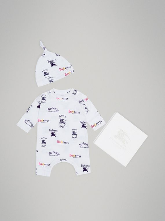 Archive Logo Two-piece Baby Gift Set in White