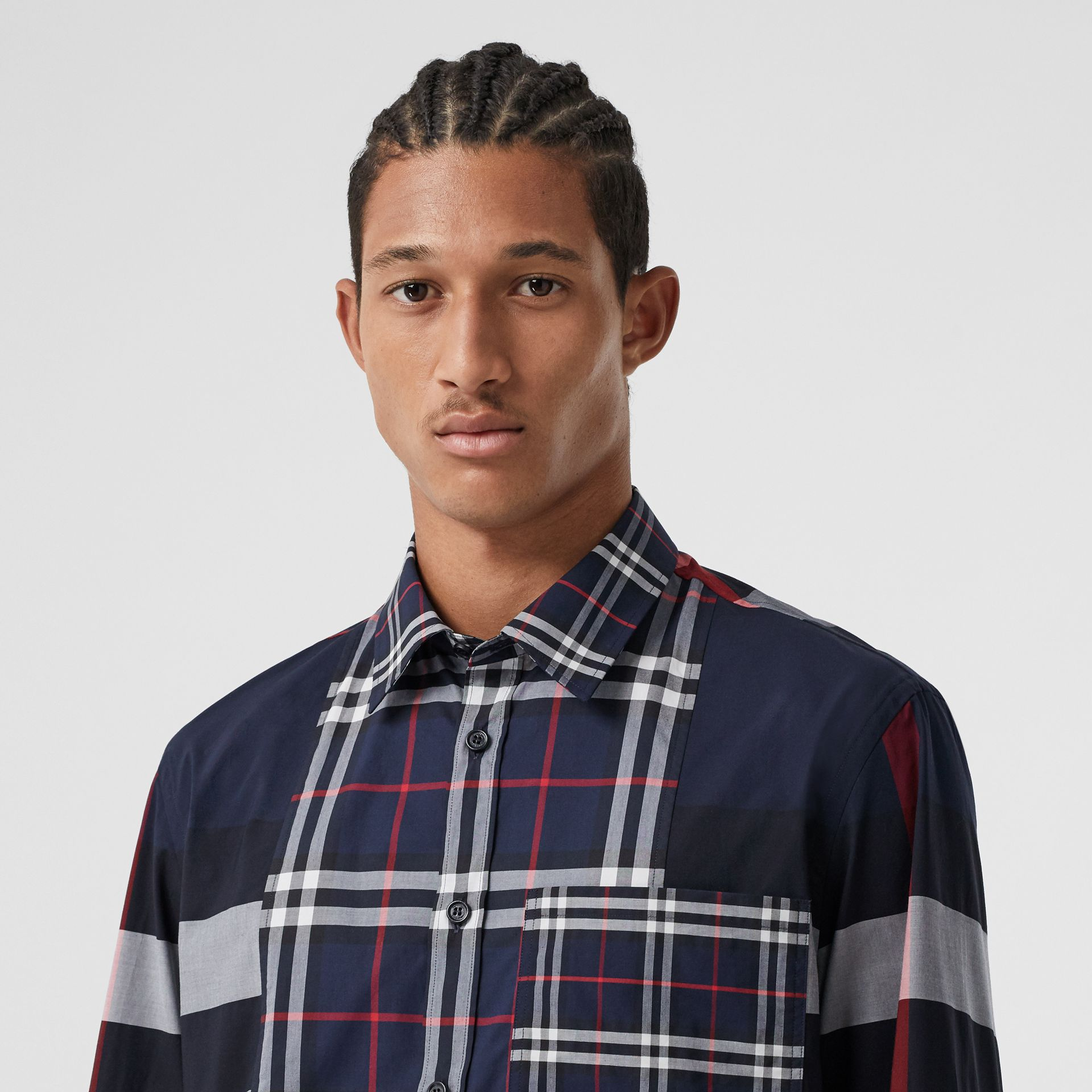 Patchwork Check Stretch Cotton Poplin Shirt in Navy - Men | Burberry - gallery image 1