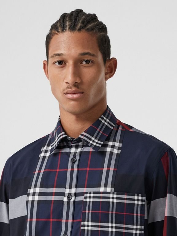 Patchwork Check Stretch Cotton Poplin Shirt in Navy - Men | Burberry - cell image 1