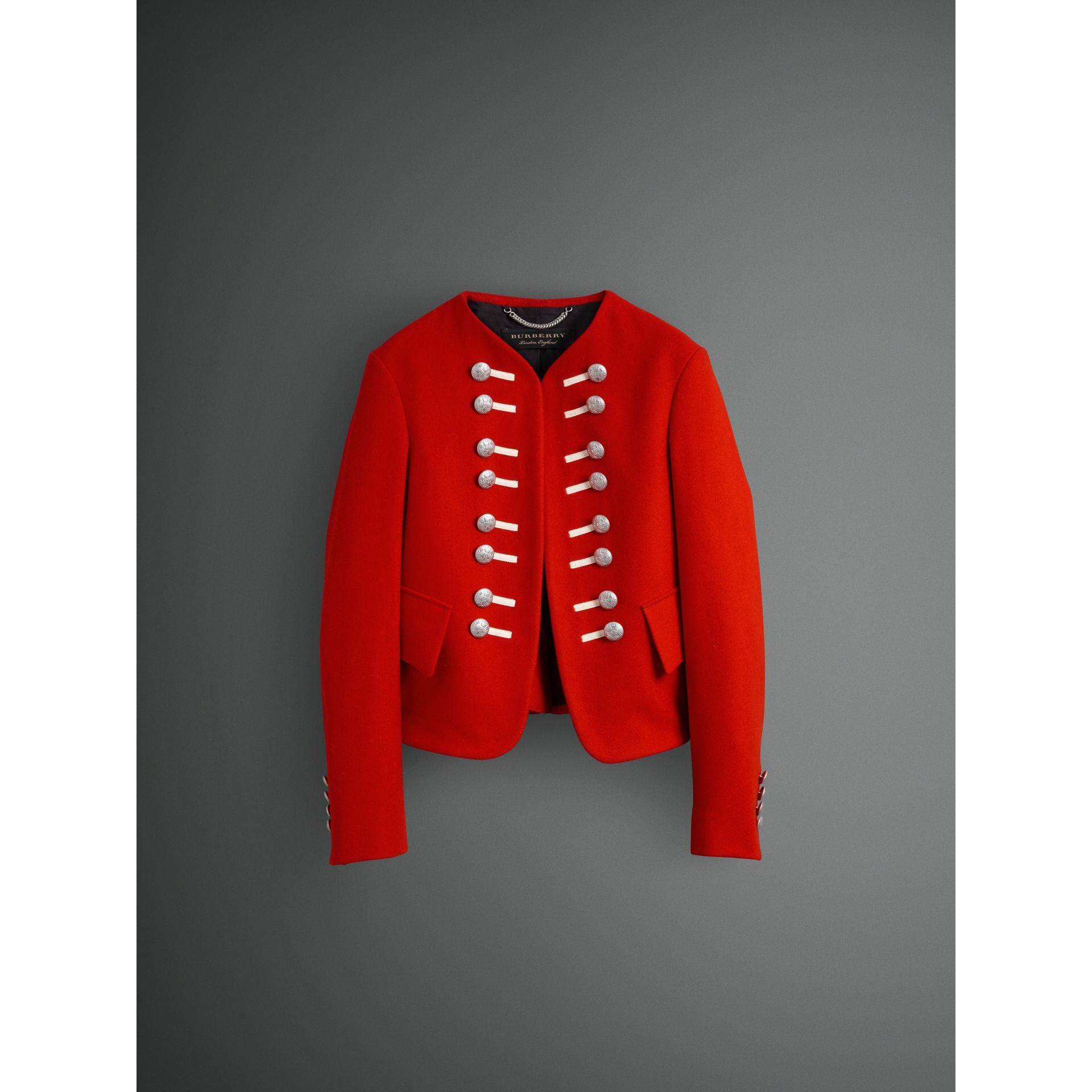 Wool Cropped Ceremonial Jacket in Orange Red - Men | Burberry United Kingdom - gallery image 3