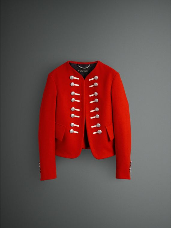 Wool Cropped Ceremonial Jacket in Orange Red - Men | Burberry - cell image 3