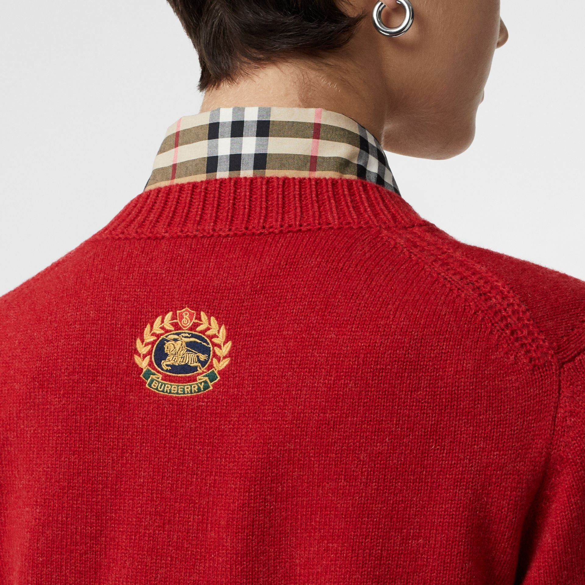 Embroidered Crest Cashmere Sweater in Coral Red - Women | Burberry - gallery image 1