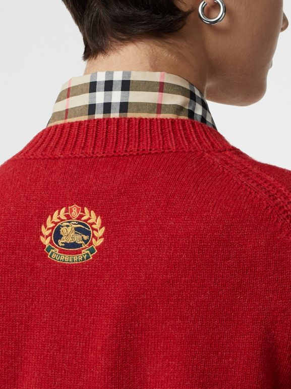 Embroidered Crest Cashmere Sweater in Coral Red - Women | Burberry United Kingdom - cell image 1