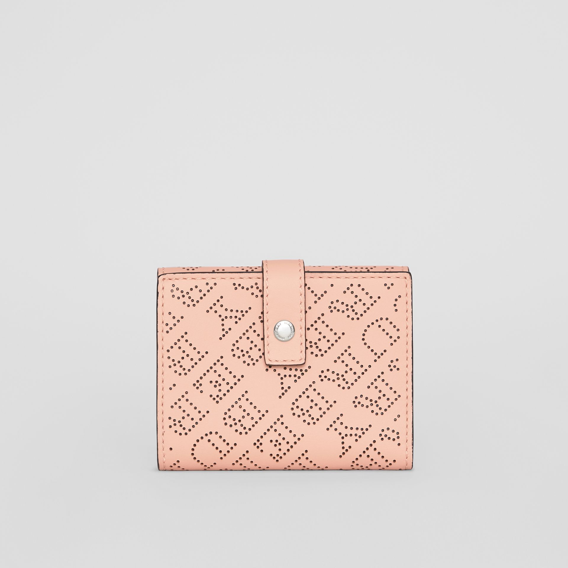 Small Perforated Logo Leather Wallet in Pale Fawn Pink - Women | Burberry United States - gallery image 2