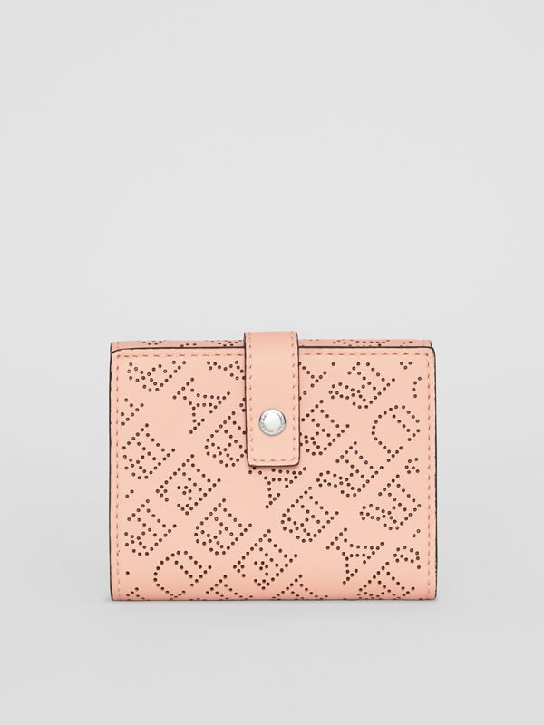 Small Perforated Logo Leather Wallet in Pale Fawn Pink - Women | Burberry United Kingdom - cell image 2