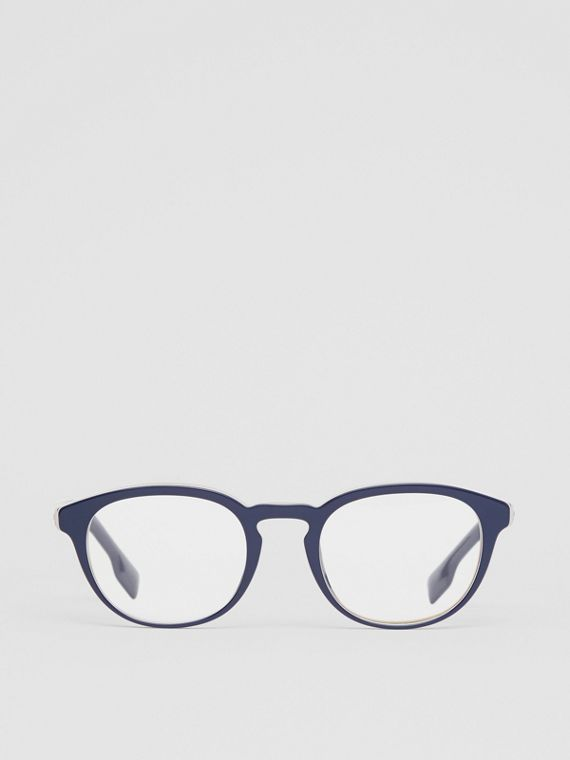 Icon Stripe Detail Round Optical Frames in Blue