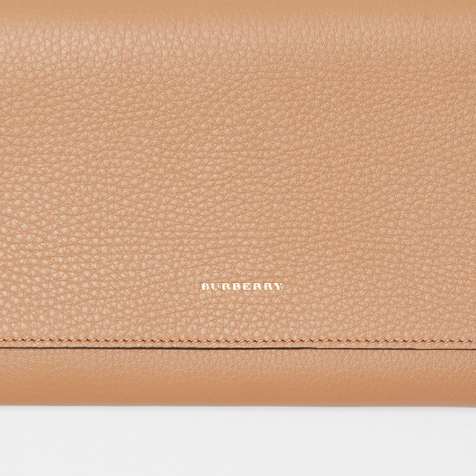 Two-tone Leather Wristlet Clutch in Light Camel - Women | Burberry Hong Kong - gallery image 1