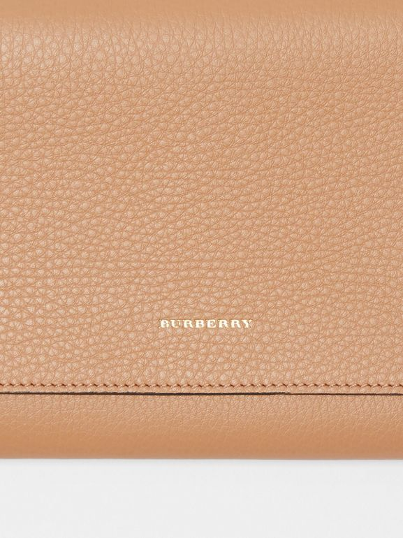 Two-tone Leather Wristlet Clutch in Light Camel - Women | Burberry Hong Kong S.A.R - cell image 1