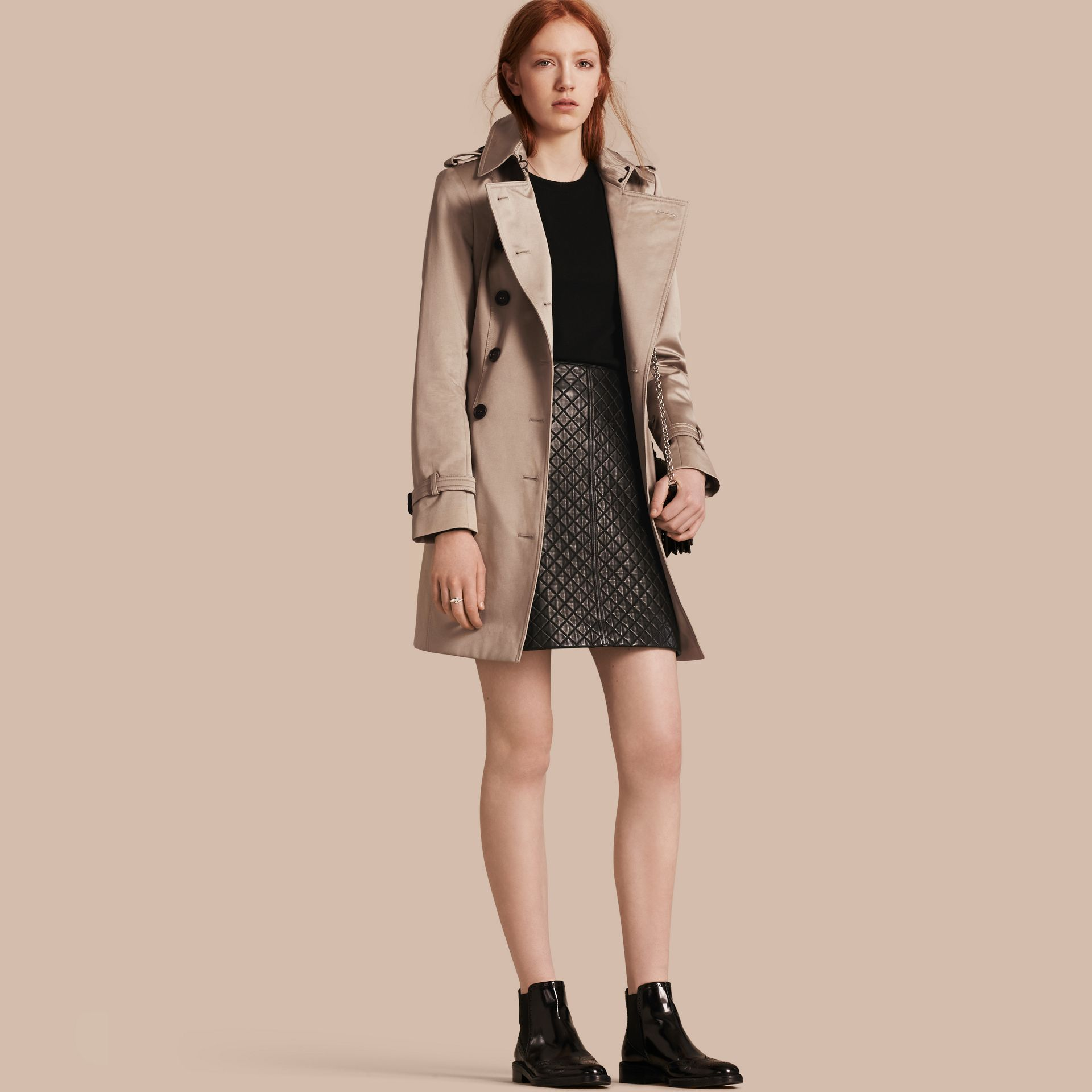 Stone Trench-coat en satin de coton Stone - photo de la galerie 1