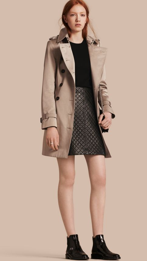 Stone Cotton Sateen Trench Coat Stone - Image 1