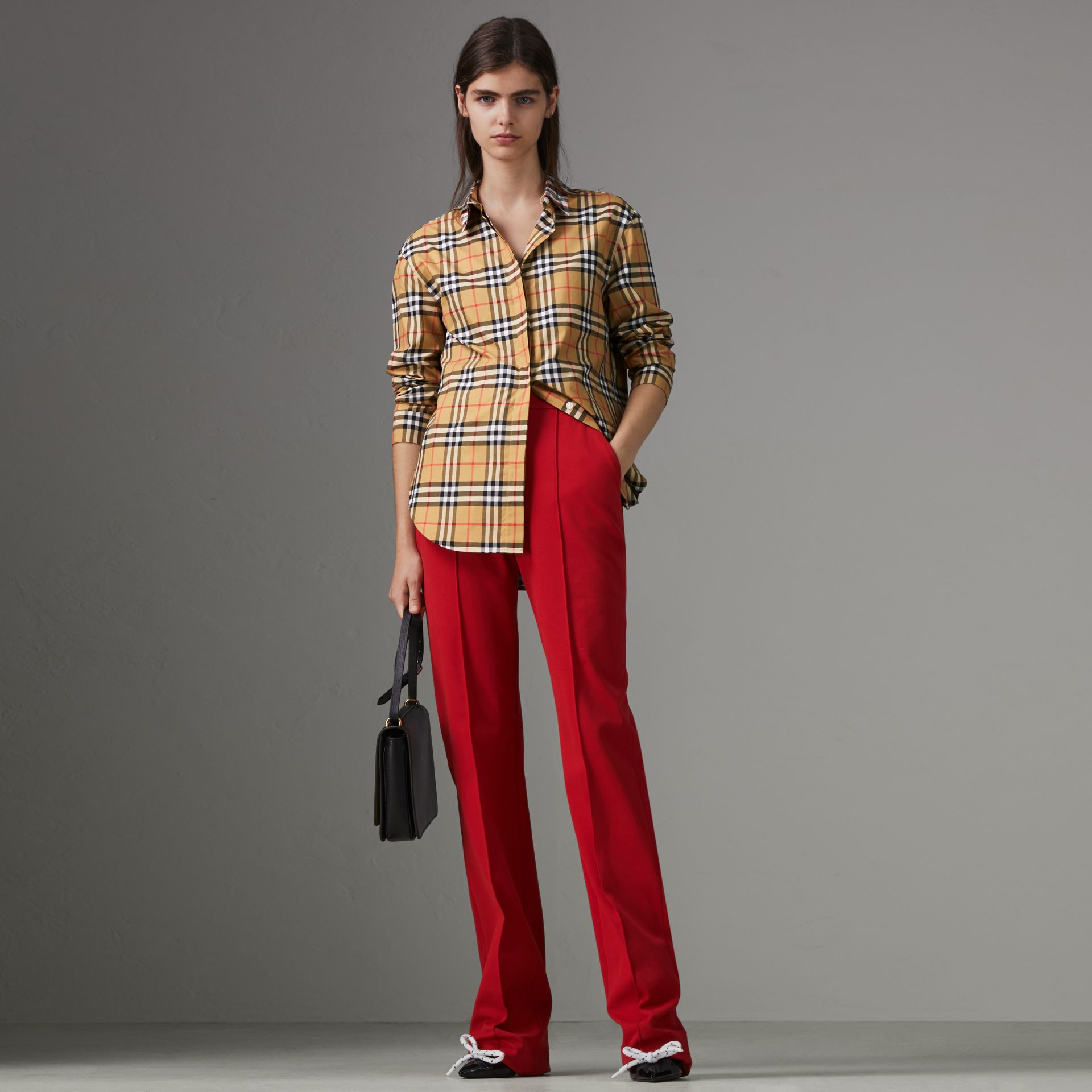 Contrast Check Cotton Shirt in Antique Yellow - Women | Burberry - gallery image 0