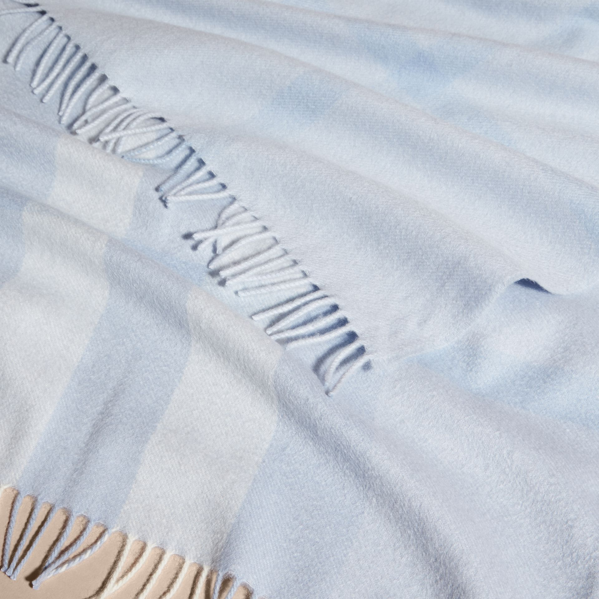 Check Cashmere Baby Blanket in Ice Blue | Burberry Australia - gallery image 4