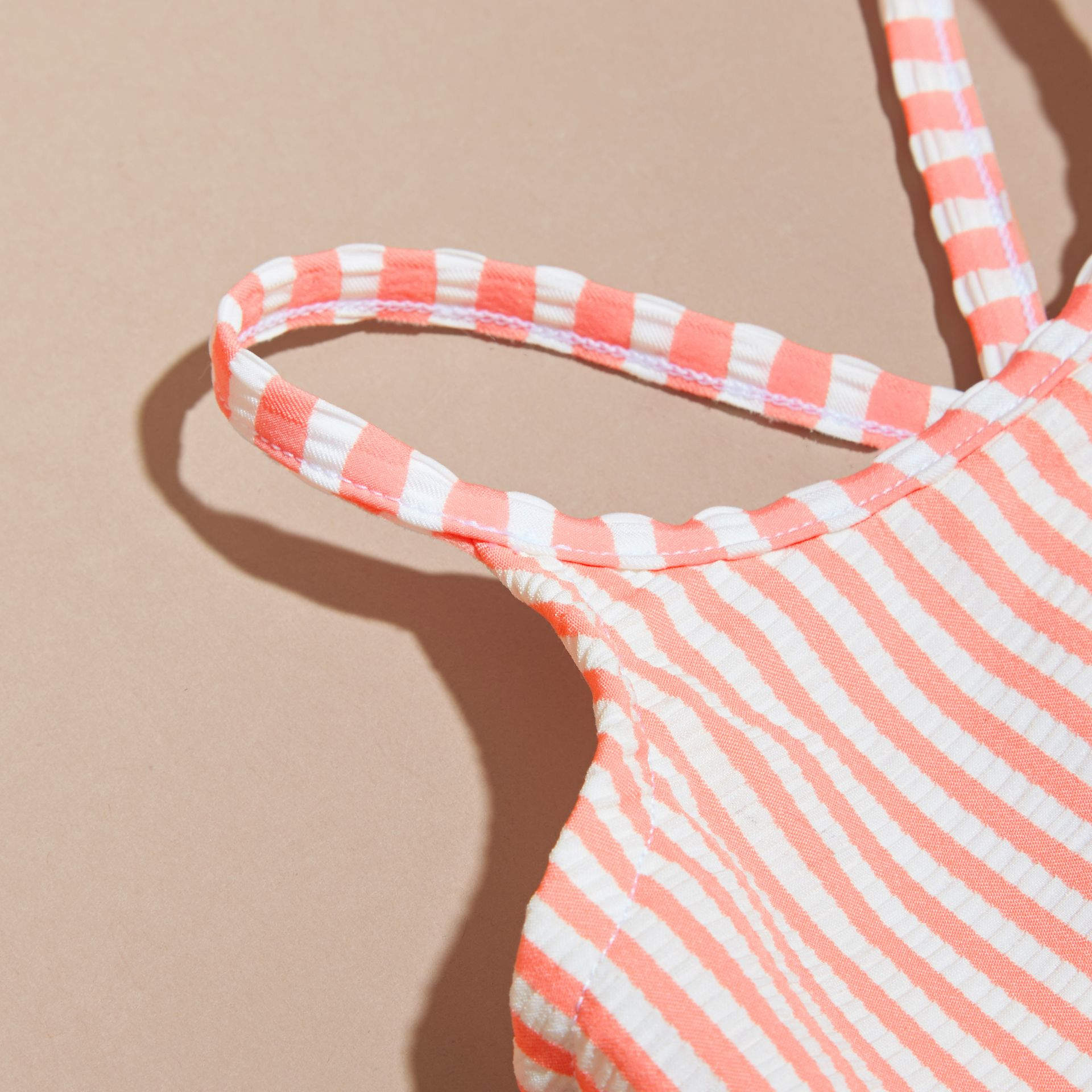 One-piece Striped Swimsuit with Check Ruffles Apricot/white - gallery image 2