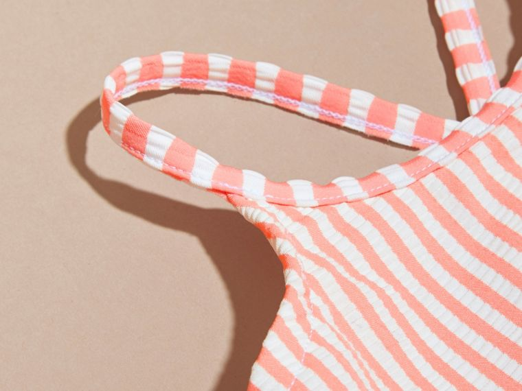 One-piece Striped Swimsuit with Check Ruffles in Apricot/white | Burberry Singapore - cell image 1
