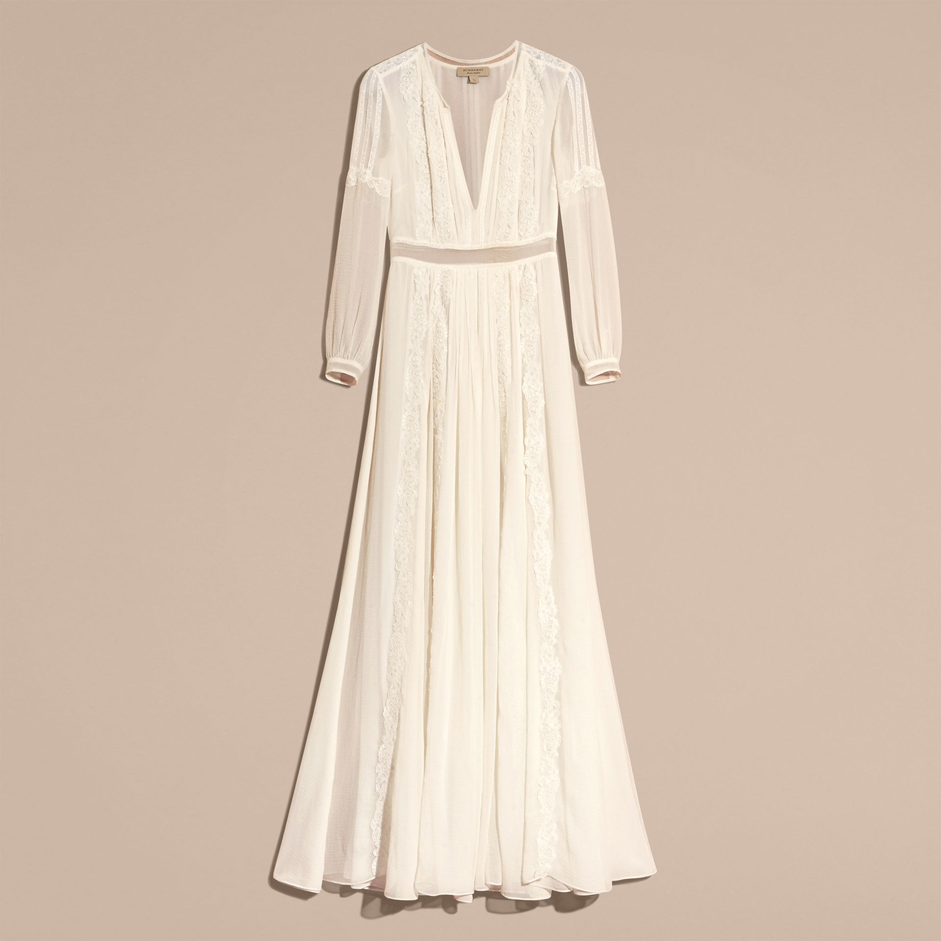 Lace Detail Silk Crepon Floor-length Dress in White - Women | Burberry - gallery image 4
