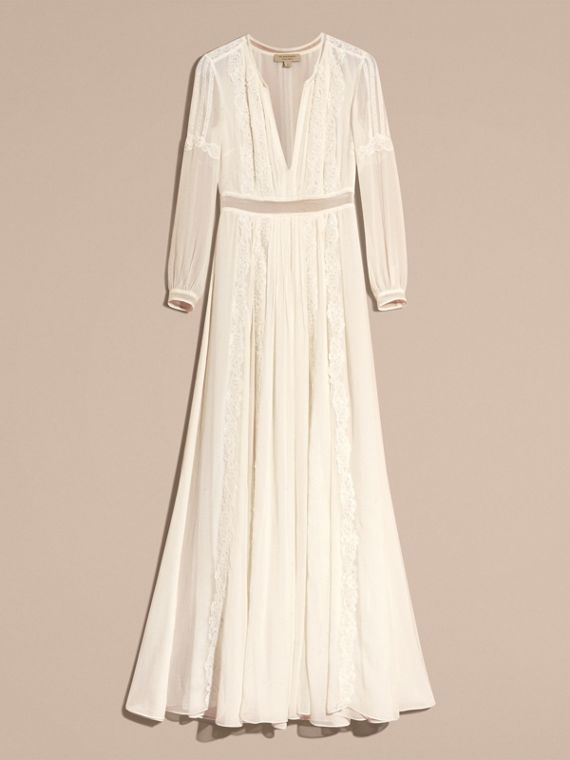 Lace Detail Silk Crepon Floor-length Dress in White - Women | Burberry - cell image 3