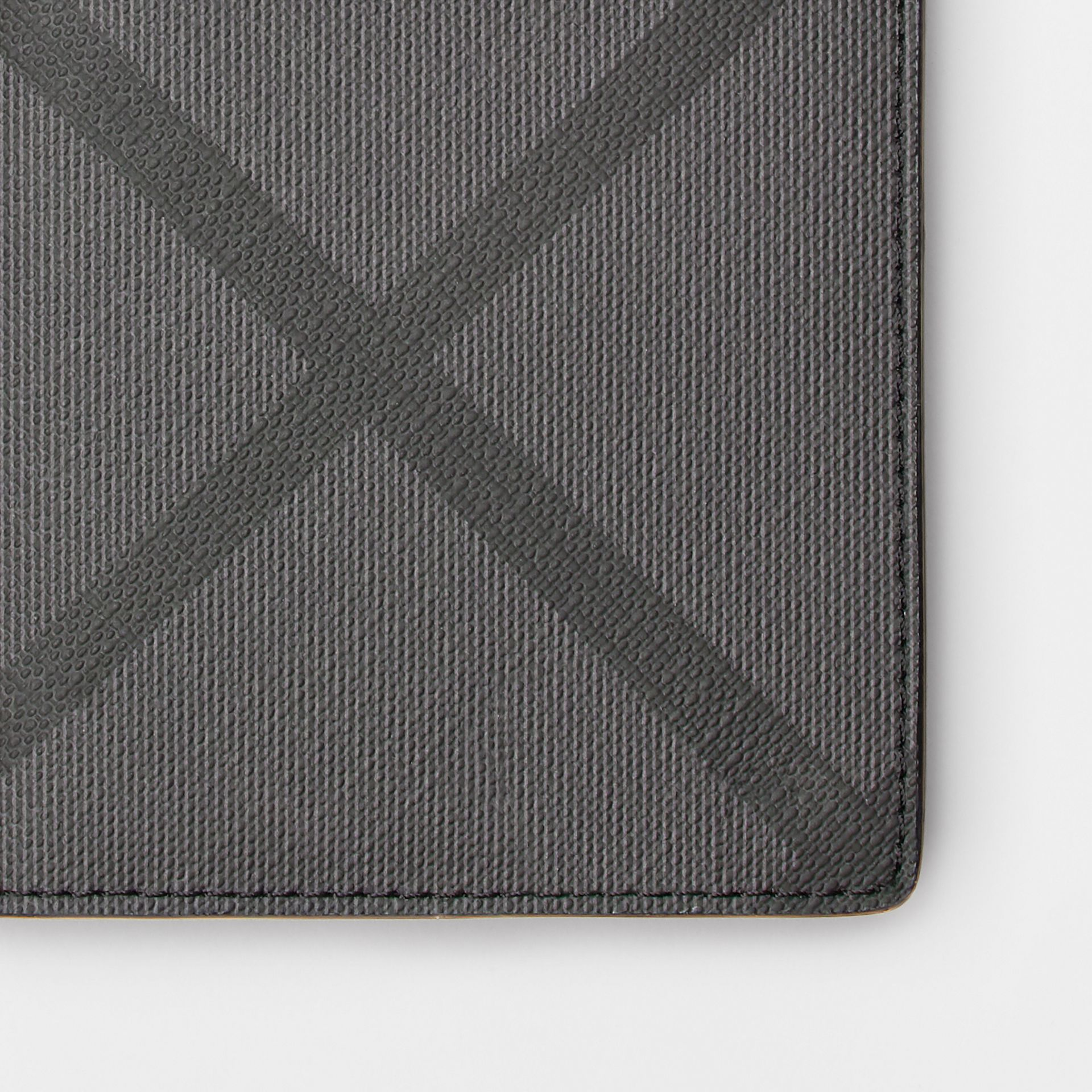 London Check and Leather Continental Wallet in Charcoal/black - Men | Burberry - gallery image 1