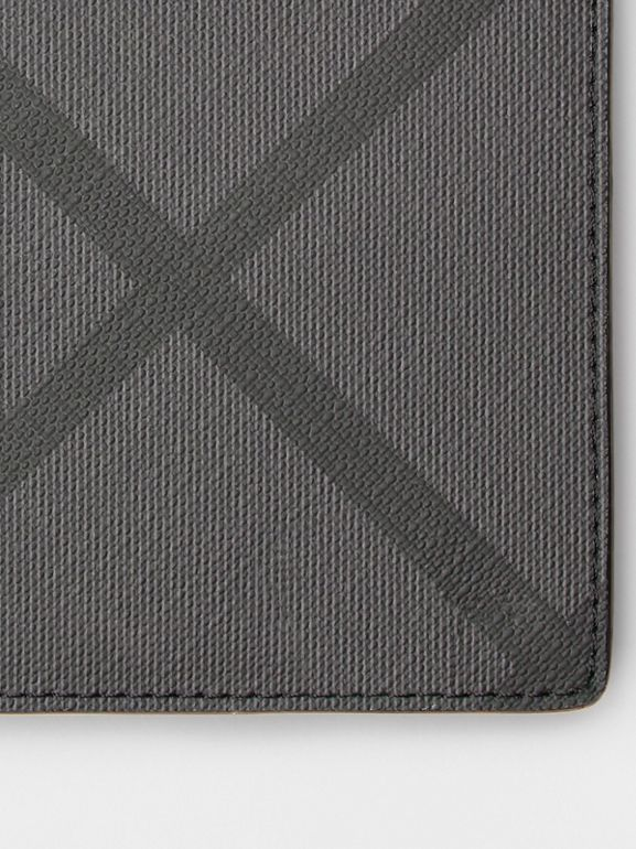 London Check and Leather Continental Wallet in Charcoal/black - Men | Burberry - cell image 1