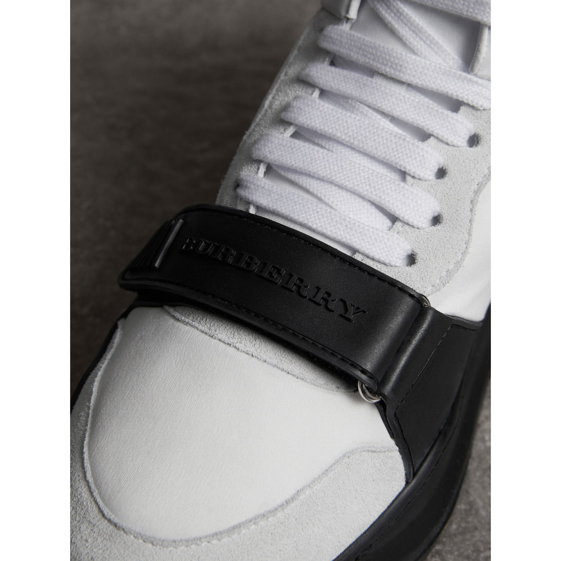 Suede Trim Neoprene High-top Sneakers in Optic White/black | Burberry - gallery image 1