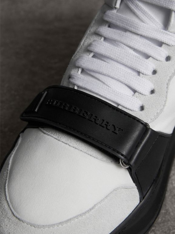 Suede and Neoprene High-top Sneakers in Optic White/black | Burberry Singapore - cell image 1