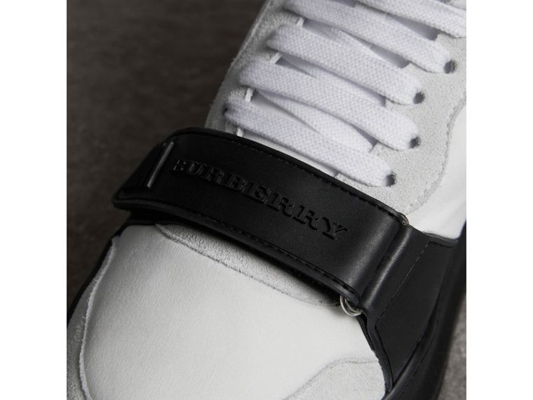 Suede Trim Neoprene High-top Sneakers in Optic White/black | Burberry - cell image 1