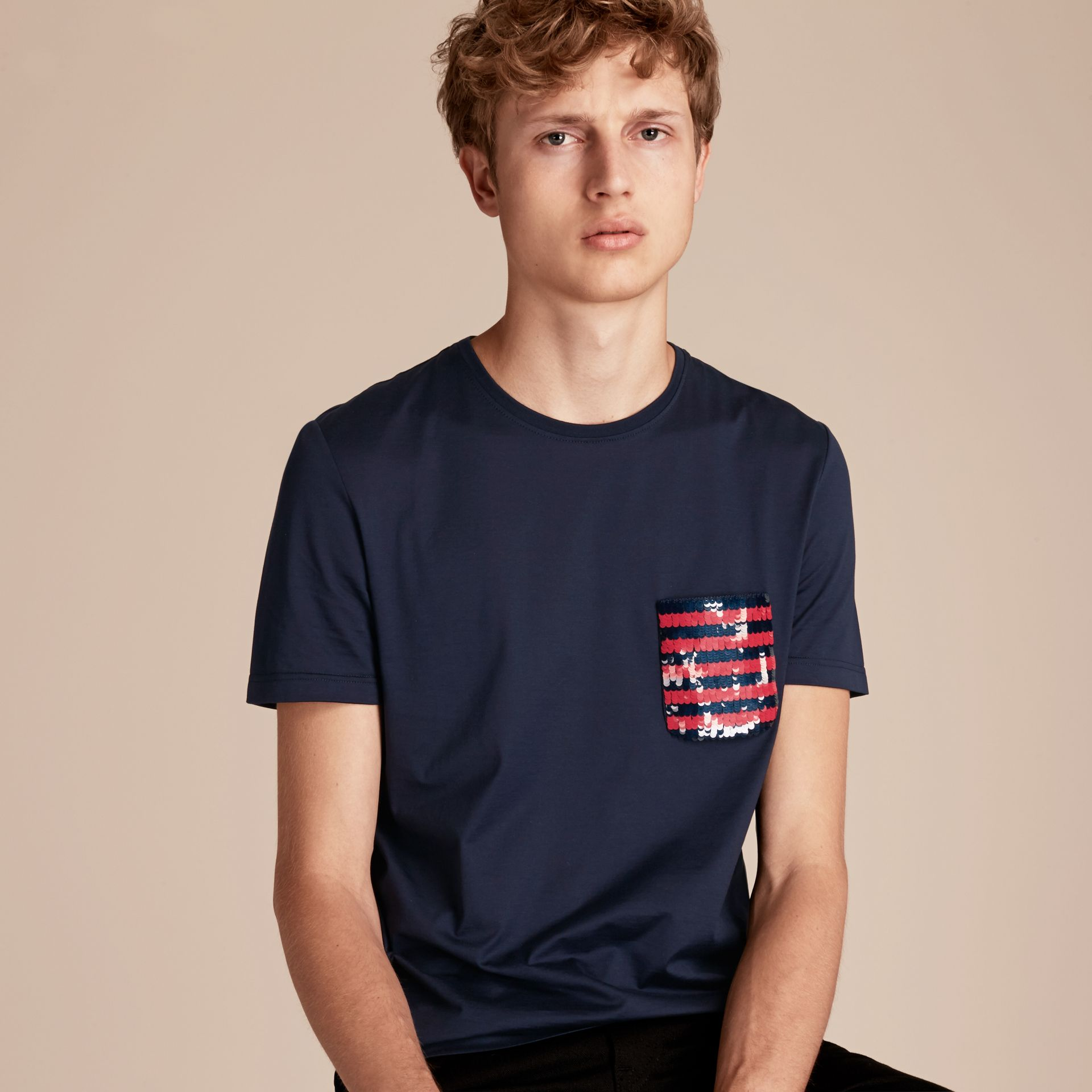 Navy Cotton T-shirt with Sequin Stripe Detail Navy - gallery image 6