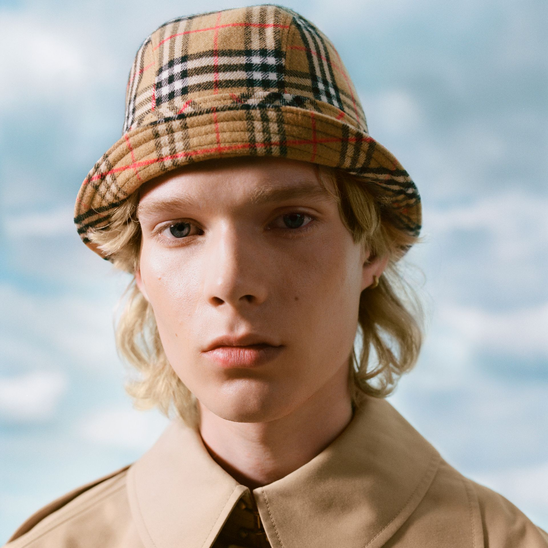 Gosha x Burberry Check Flannel Bucket Hat in Antique Yellow | Burberry United Kingdom - gallery image 1