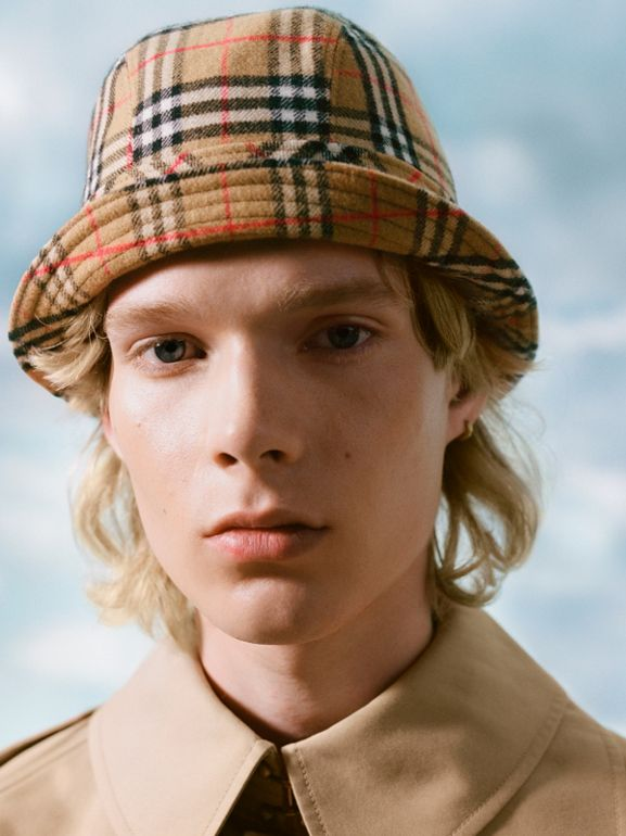 Gosha x Burberry Check Flannel Bucket Hat in Antique Yellow | Burberry United Kingdom - cell image 1