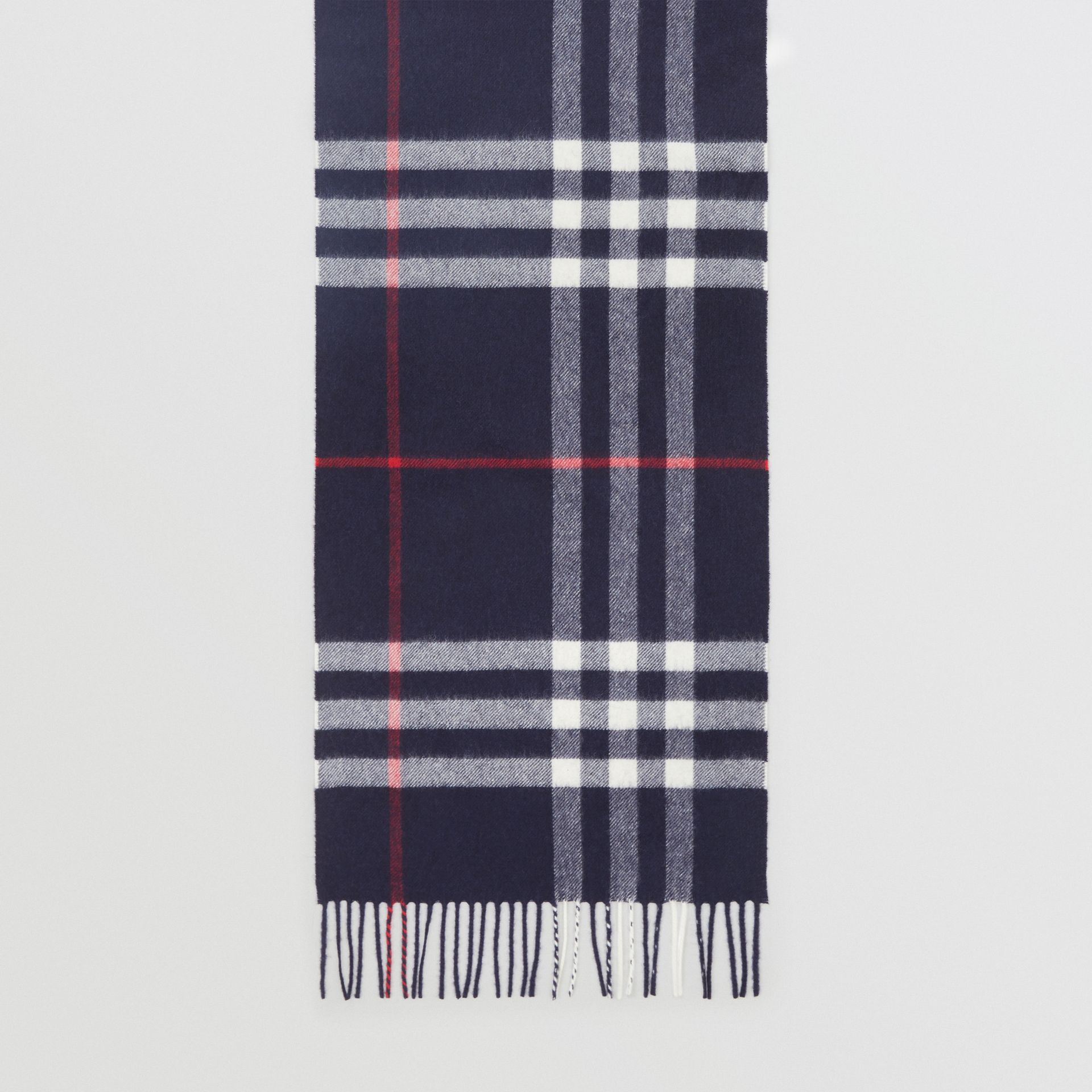 The Classic Check Cashmere Scarf in Navy | Burberry Singapore - gallery image 2