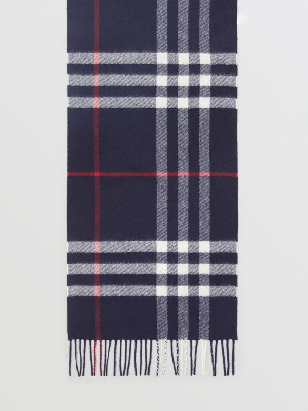 The Classic Check Cashmere Scarf in Navy | Burberry Singapore - cell image 2