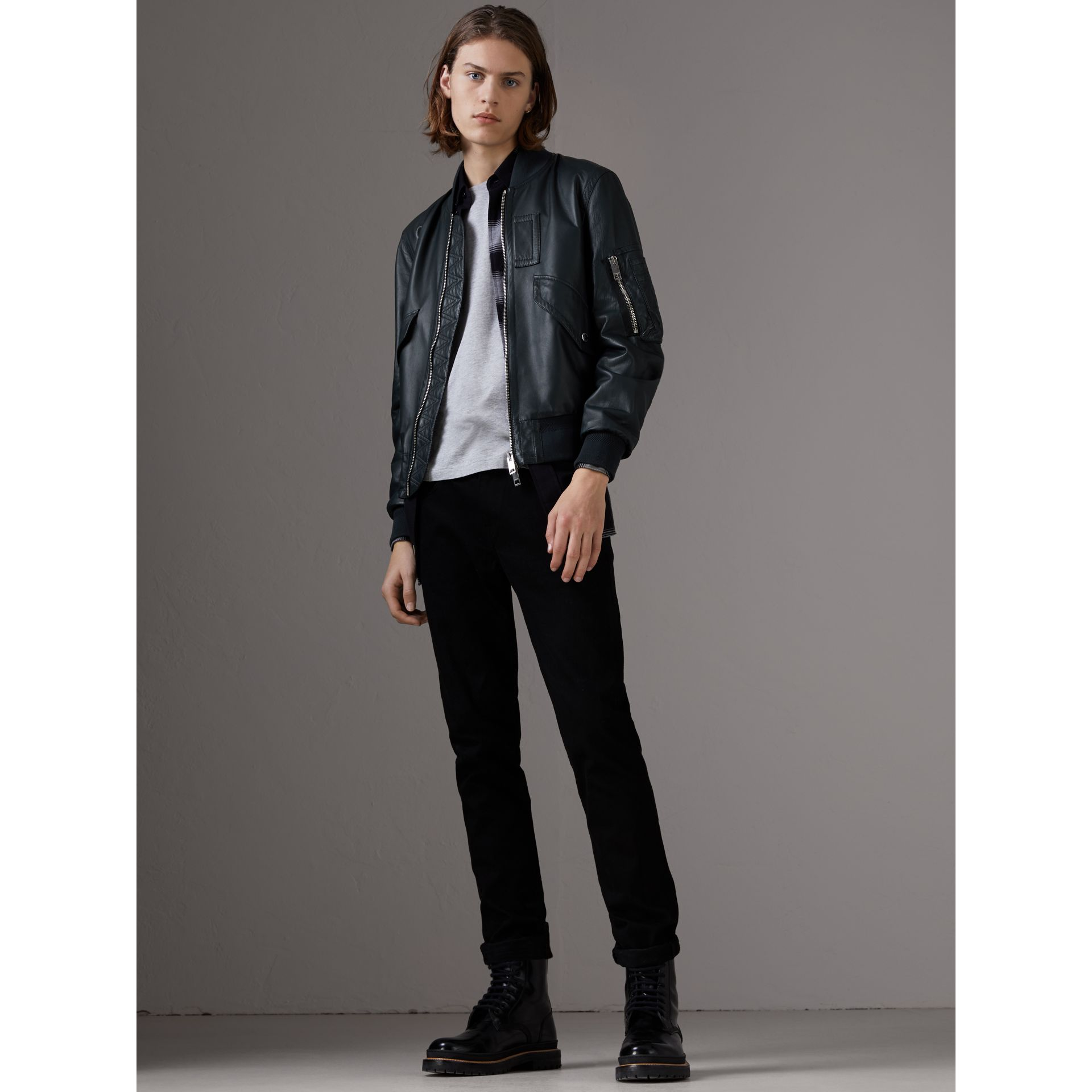 Lambskin Bomber Jacket in Navy - Men | Burberry Singapore - gallery image 5