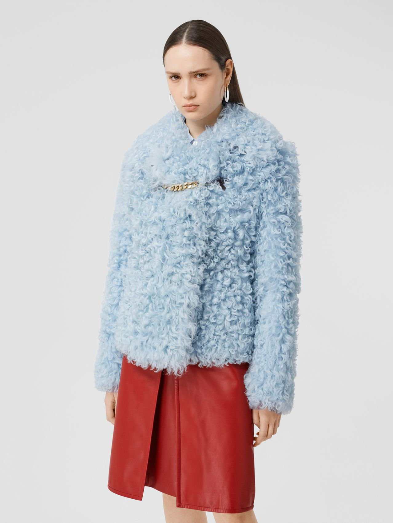 Chain Detail Shearling Jacket (Pale Blue)