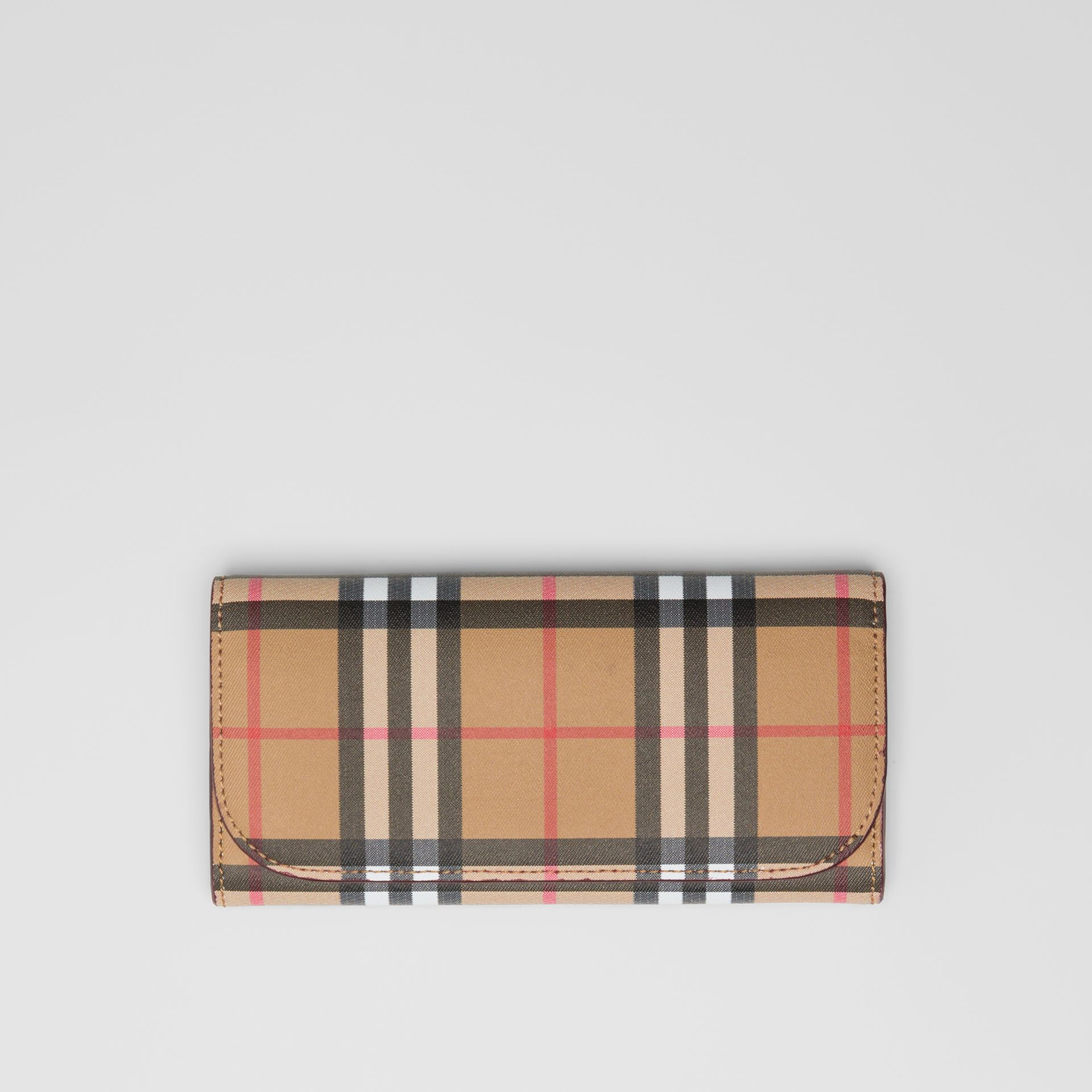 Vintage Check and Leather Continental Wallet in Crimson - Women | Burberry Australia - gallery image 0