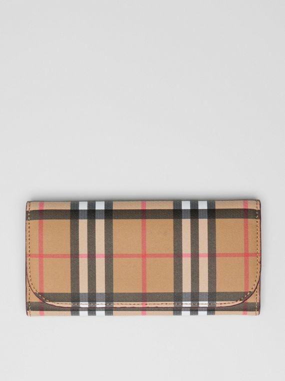 Vintage Check and Leather Continental Wallet in Crimson