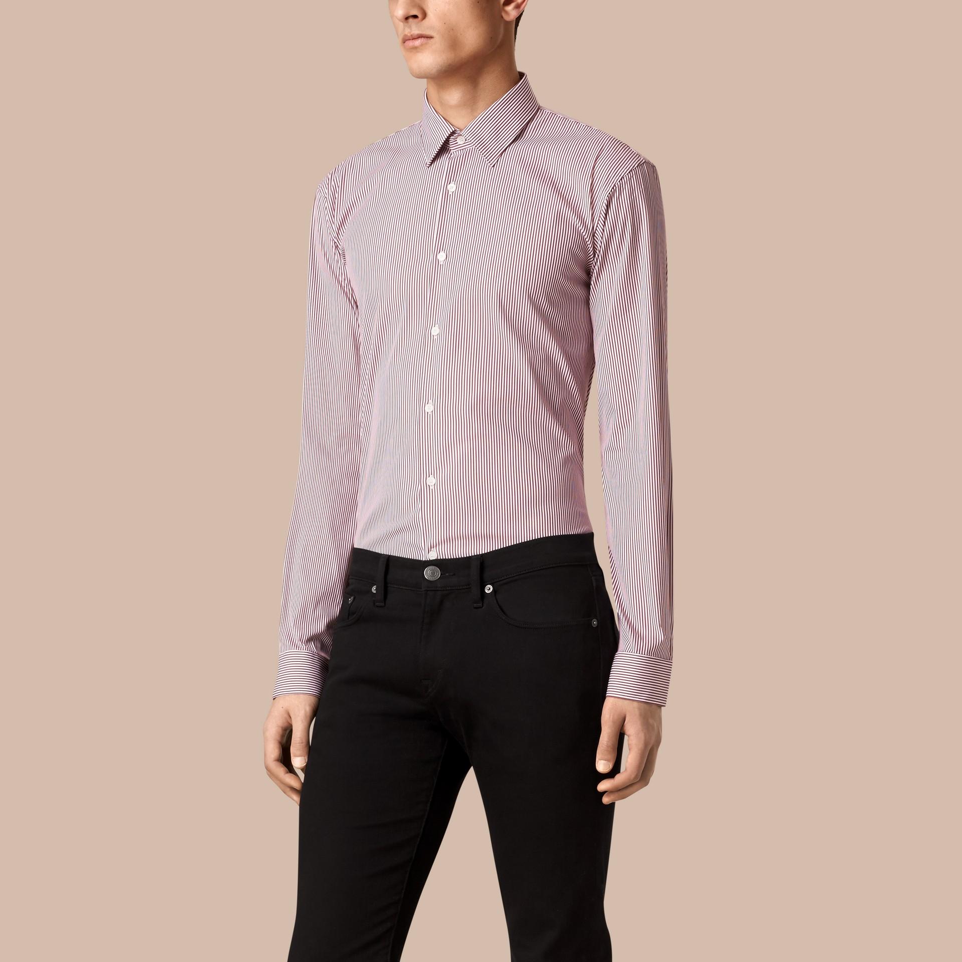Vinho escuro Camisa listrada de algodão stretch com corte moderno Vinho Escuro - galeria de imagens 1