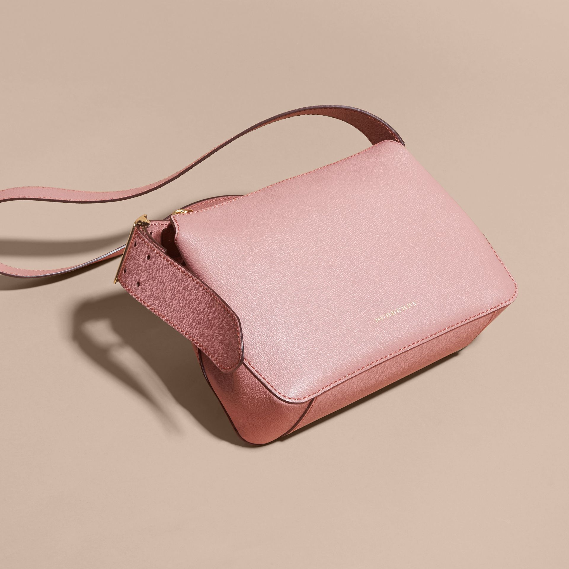 Buckle Detail Leather Crossbody Bag Dusty Pink - gallery image 7