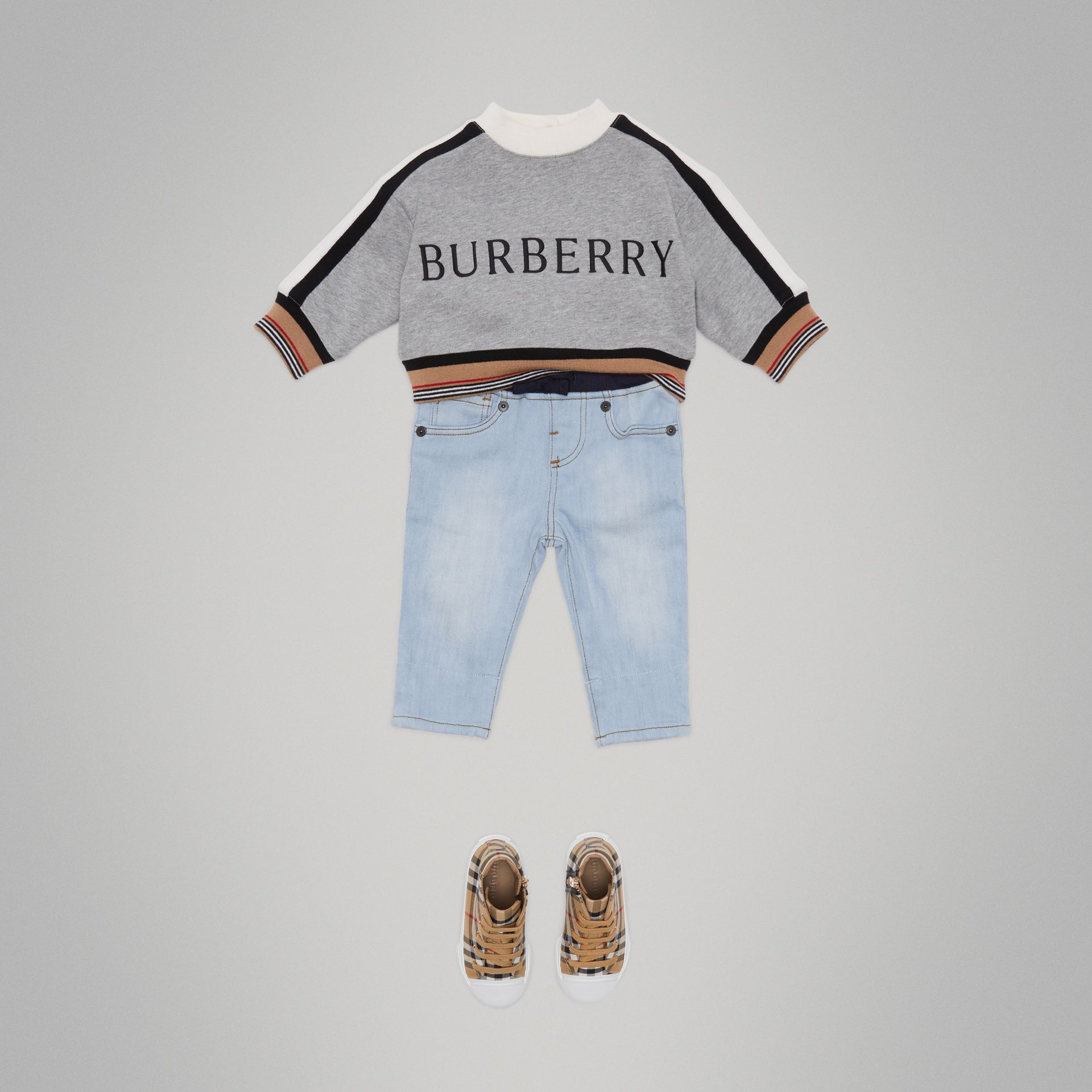 Relaxed Fit Pull-on Denim Jeans in Light Blue | Burberry - gallery image 2
